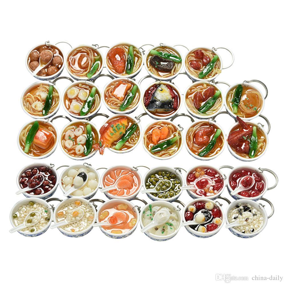 50 pcs 4cm nova simulação comida chaveiro chaveiro macarrão chaveiro chinês azul e branco porcelana comida tigela mini saco pingente