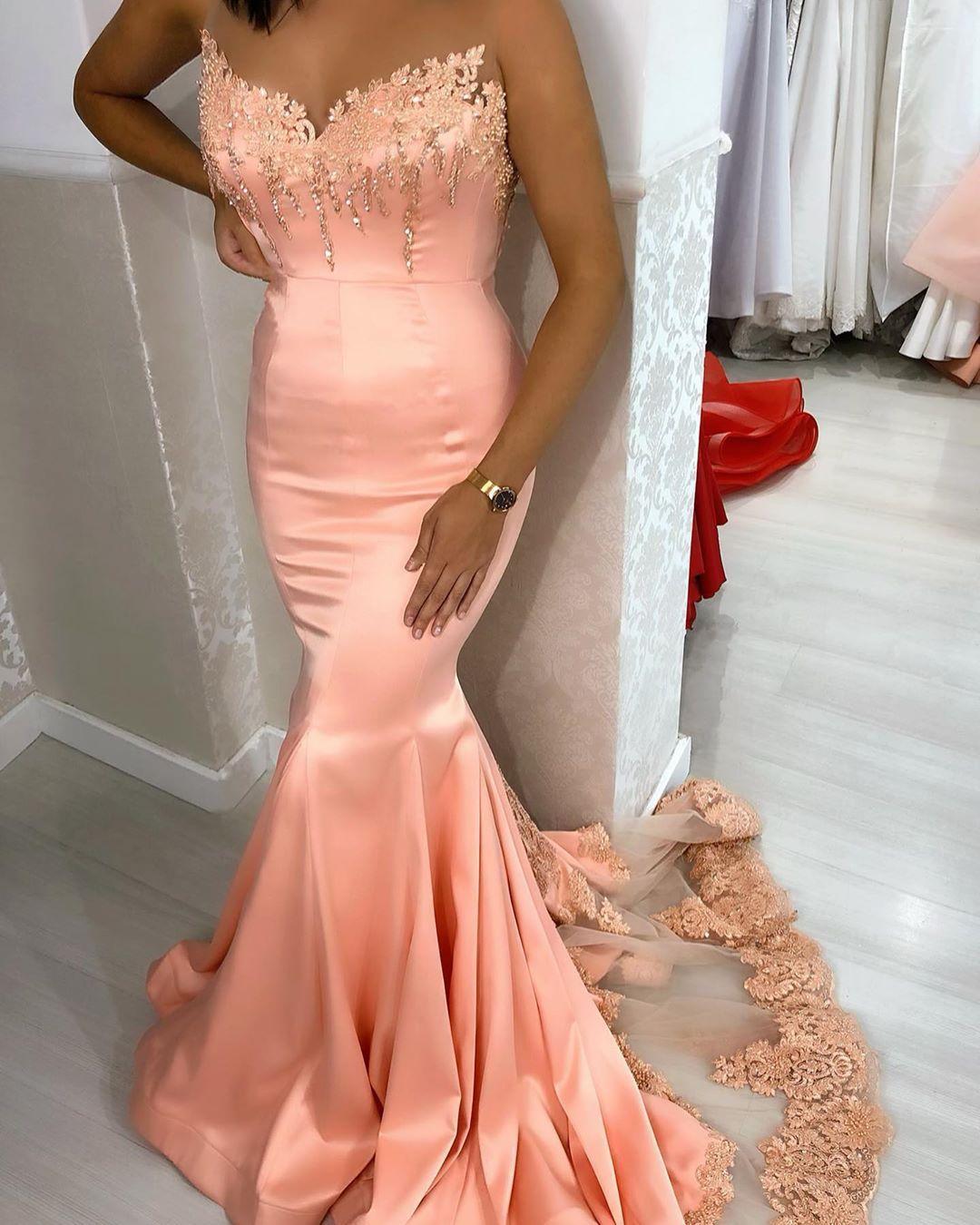 Aso Ebi 2020 árabe rubor rosa sirena vestidos de noche de encaje con cuentas vestidos de baile Sheer cuello formal fiesta recepción vestidos de dama de honor ZJ443