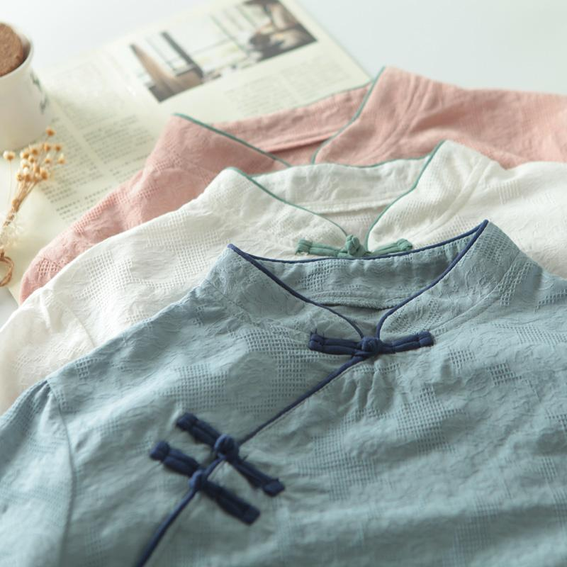 Geleneksel Çin Plaka Düğme Gömlek Kadınlar Bahar Çin Stil Etnik Vintage Mandarin Yaka Mavi Beyaz Pembe Bluz TOPS