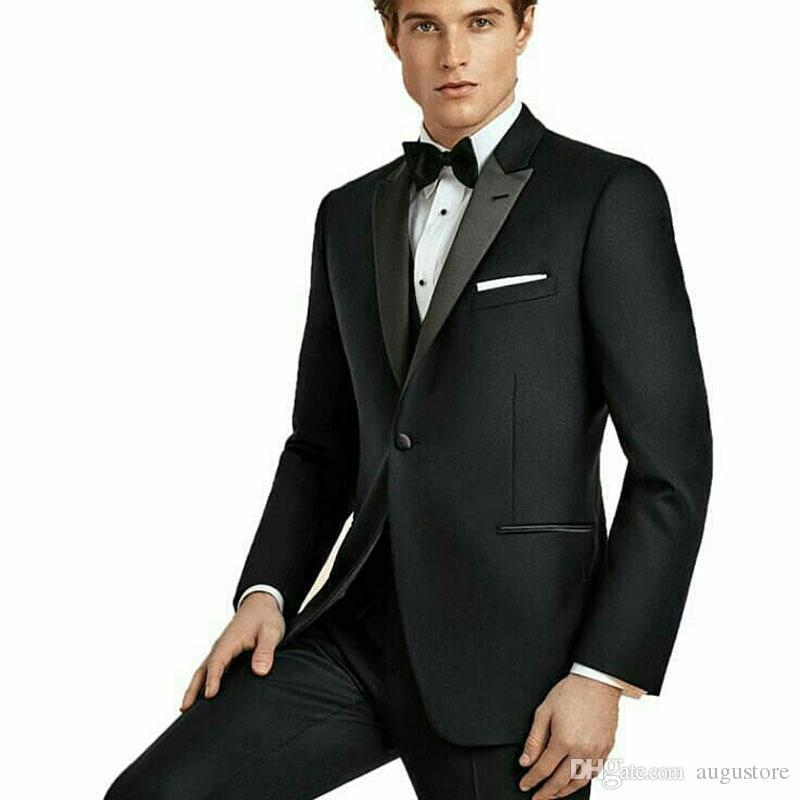 Die neueste Design Schwarz Bräutigam Smoking Männer Anzüge für Hochzeit spitzen Revers Best Men Outfits 2Piece Slim Fit Kostüm Homme Terno Masculino
