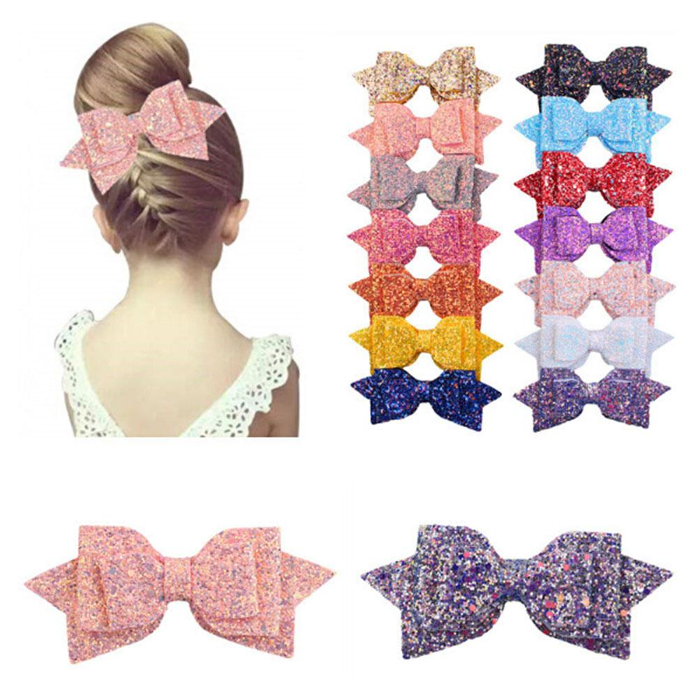 """5PCS 5"""" Big Boutique Glitter Synthetic Leather Hair Bows Girls Kids Hair Clips Colorful Cute Girls Gift Kids Accessories"""