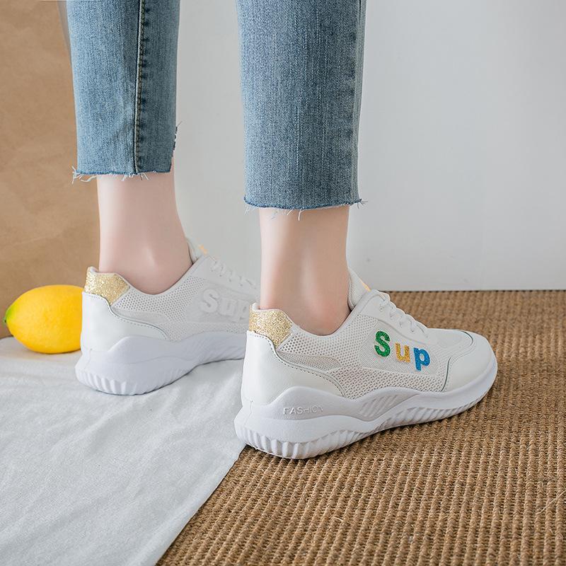 Petit Blanc Chaussures 2019 Eté Nouveau style polyvalent étudiants poinçonné Fiche Breadboard Chaussures INS extra plat haute Chaussures-1908 Casual