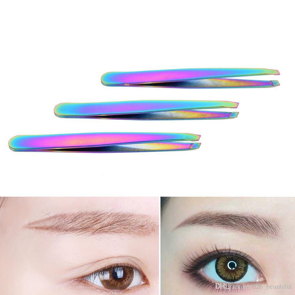 Arcobaleno di colore in acciaio inox rimozione sopracciglio pinzette angolato inclinato strumenti sopracciglio viso assetto sopracciglia colorato ciglia clip LJJS1