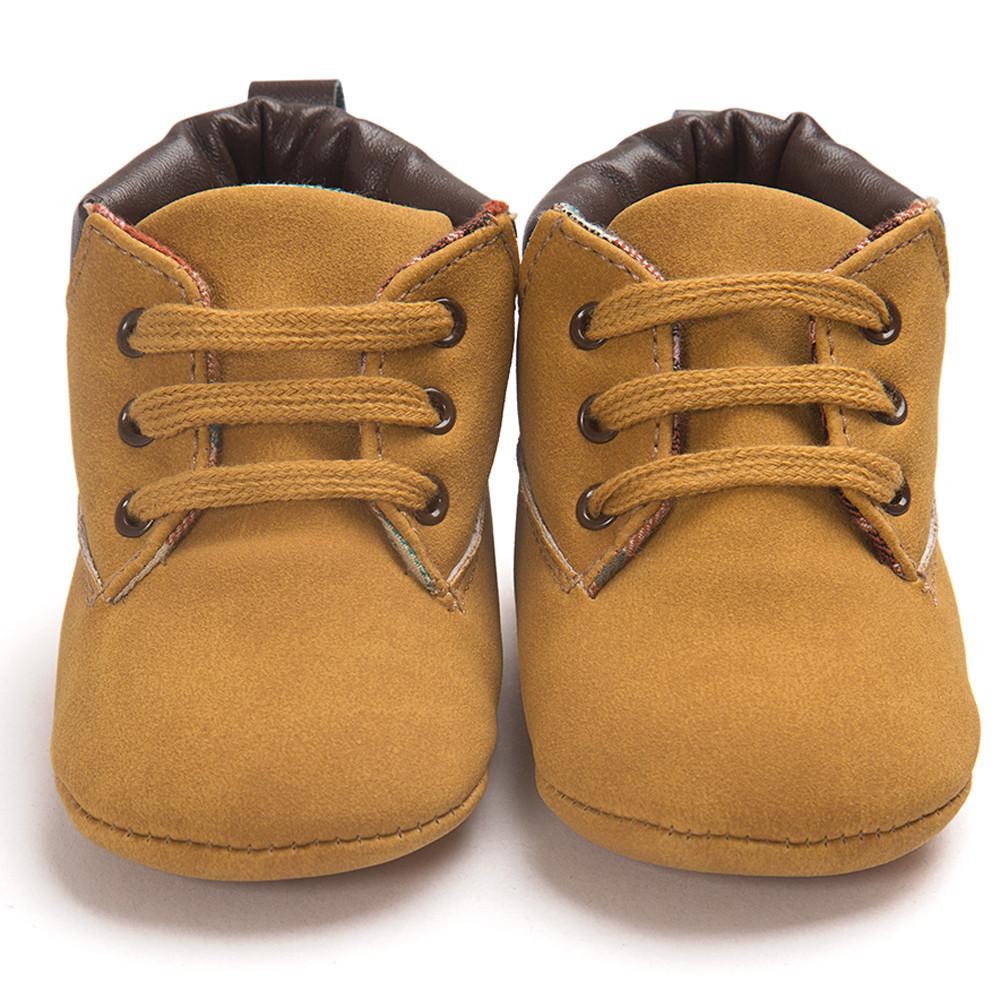 Outono Primavera Botas Sapatos Moda Unissex da criança do bebê suave Sole Botas Sapatos de couro infantil da menina do menino da criança Sólidos Lace-up Shoes