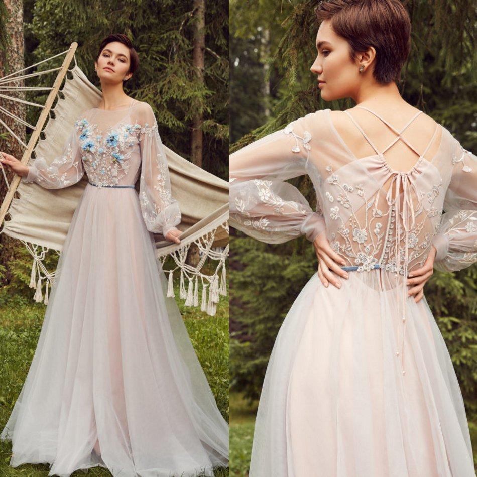 Julie Vino 2020 Vestidos Jewel Lace apliques de mangas compridas Prom Vestidos Lace-up Voltar Floor Duração Ocasião uma linha especial Vestido