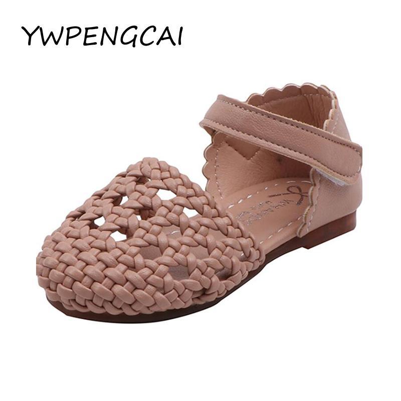 Размер 21-30 Малыша девушки сандалии вырезами Вязаные Девушки Туфли летние закрытые носком девушки милые Сладкие сандалии