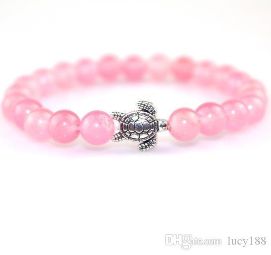 2019 Jóias 8mm de cristal rosa ms pulseira mulheres bonito tartaruga de prata banhado a pulseira com estilo transfronteiriço hot venda direta da fábrica