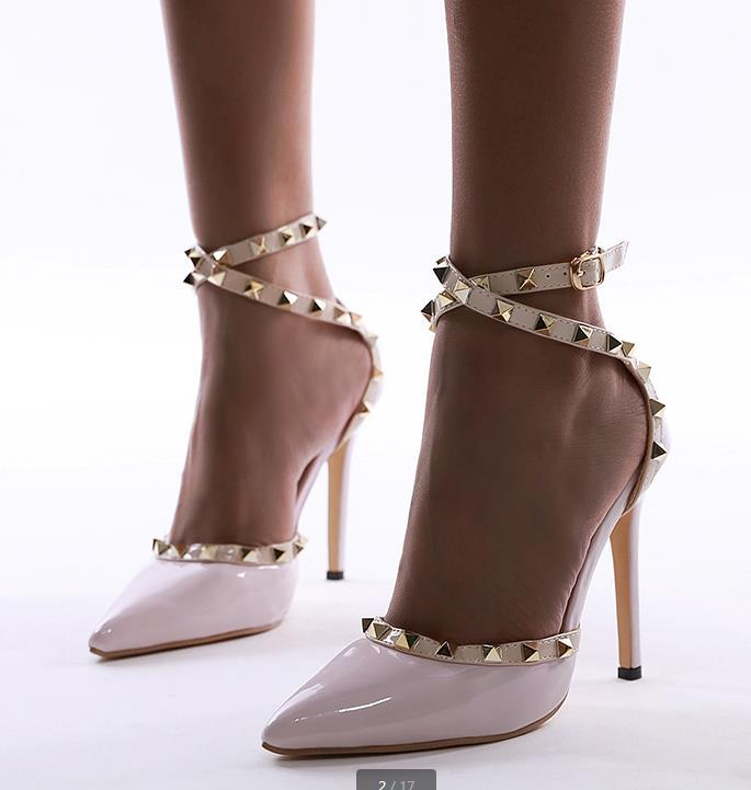 Studded Pointed Toe Hollow Out Ankle Buckled Heeled