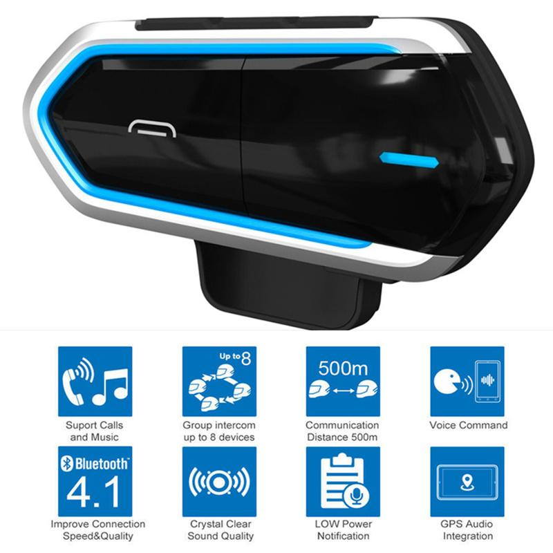 Casco del motociclo senza fili Bluetooth Headset Equitazione vivavoce Radio FM stereo MP3 Facile Operazione LongStand impermeabile