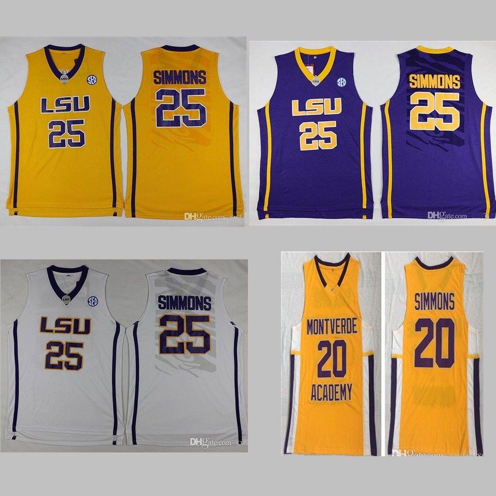 고등학교 Montverde Academy Eagles Ben Simmons Jersey 20 남성 농구 LSU 호랑이 대학 25 Simmons Jersey Sticthed White Yellow Purple