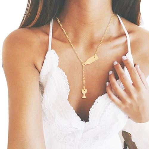 KISS WIFE Fashion 3 Colors Rose Gold Silver Wine Cup Necklace Wine Bottle Glass Chic Necklaces Girl Lady Best Gift Choker