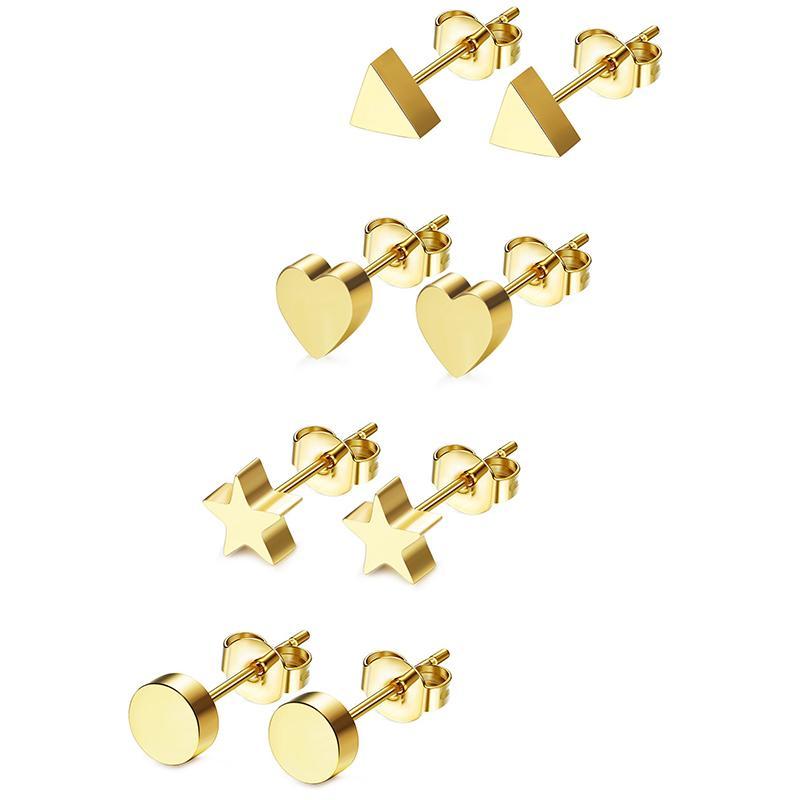 Мода Геометрическая серьги для женщин ручной работы сердца треугольник Круглый звезда серьги Минималистский нержавеющей стали серьги ювелирные изделия