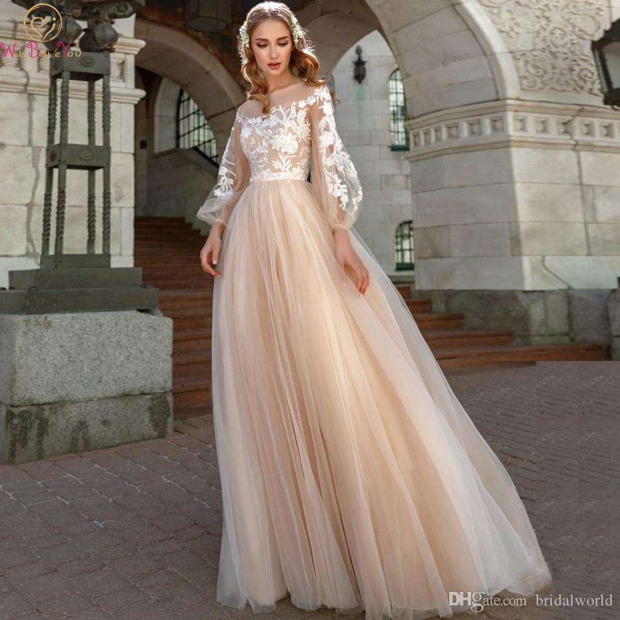 2019 A Line Свадебные Платья Фонарь Рукава Тюль Свадебное Платье Vestido Novia Аппликации Шампанское Принцесса Свадебное Платье
