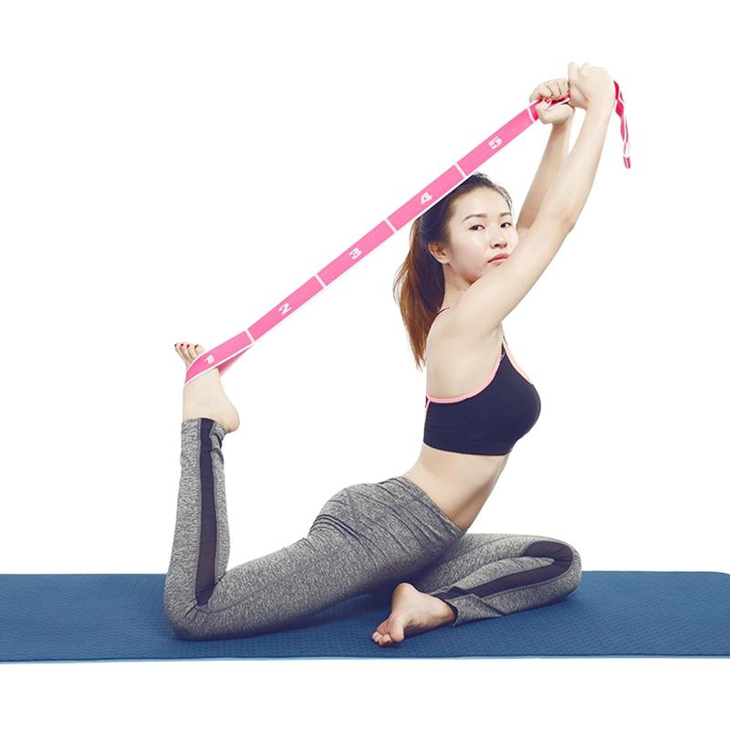 Térmica estiramiento de la correa de nylon 8 anillo elástico de látex cinta elástico Cintura Yoga Pilates Yoga Fitness