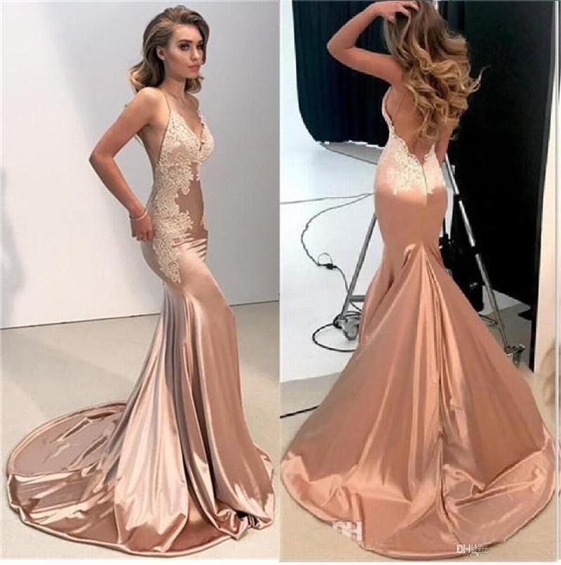 새로운 섹시한 백리스 레이스 인어 이브닝 드레스 2019 스파게티 스트랩 긴 댄스 파티 가운 레드 카펫 드레스 188