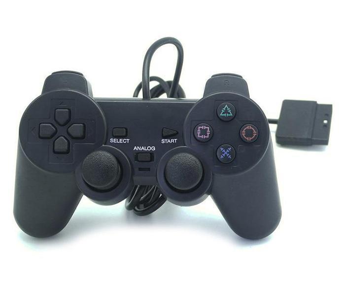 100X vendedores calientes de Controlador Wired Controller para PS2 Joystick Gamepad doble vibración del juego para PlayStation 2 M-JYP