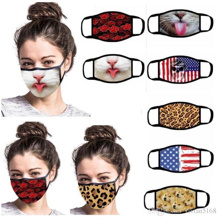 الأزياء 3D طباعة الكرتون القطن الفم قناع أقنعة قابل للغسل قابلة لإعادة الاستخدام مكافحة الغبار الوجه التنفس الاحترار يرتدي صامد للريح للجنسين قناع