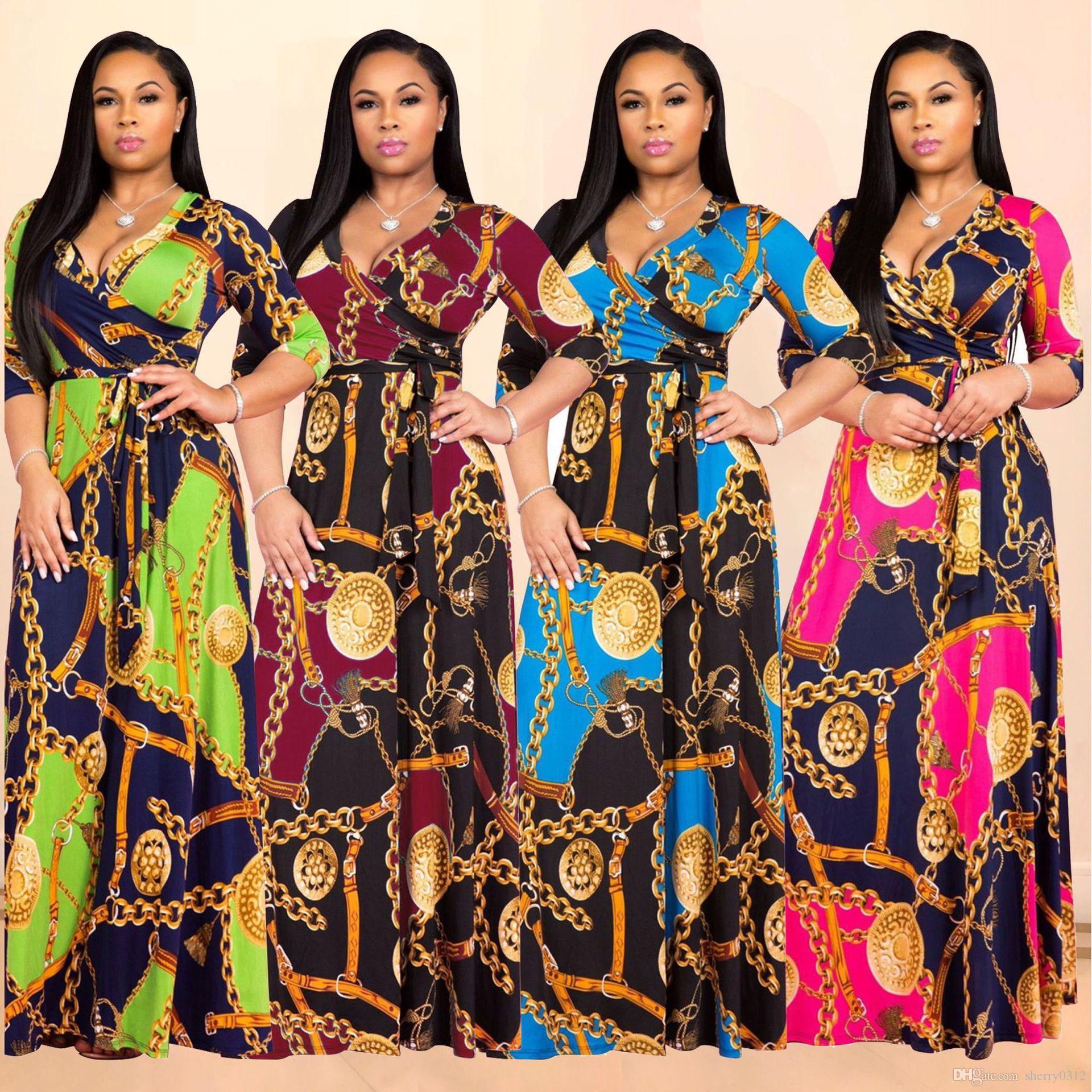 2019 Printemps Femmes Maxi Dress Traditionnel Africain Imprimer Robe Longue Dashiki Élastique Élégant Dames Moulante Vintage Chaîne Imprimer Plus La taille 3XL