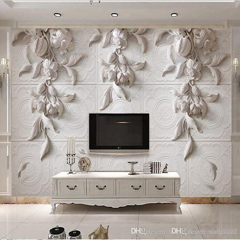Custom any size 3d Photo Wallpaper Mural Wall Sticker 3d Stereo White European Carving Orchid Hotel TV Background Wall Decor Wallpaper