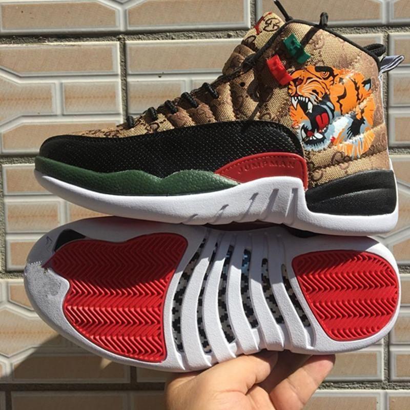 2020 beste Qualität 12s Herren Basketball-Schuhe 12 Tiger Snake Weiß Rot Männer Frauen Sport-Turnschuhe Größe 7-13