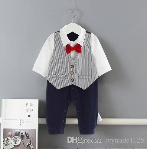 ملابس INS طفل رضيع رومبير 100٪ قطن الرجل المحترم تصميم اثنين من قطعة مجموعات رومبير ربيع خريف ثوب فضفاض بوتيك 0-2T