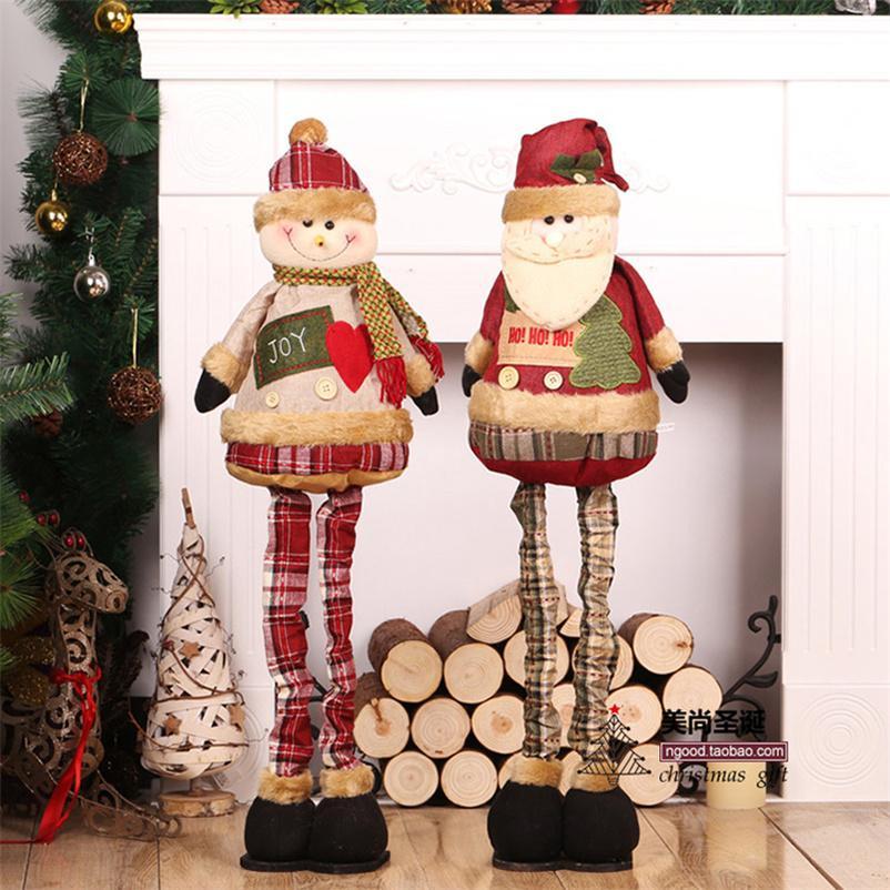 85cm Weihnachtspuppen Retractable Weihnachtsmann Schneemann-Weihnachtsdekorationen für Haus Geschenk für Kinder Neujahr Figurinen