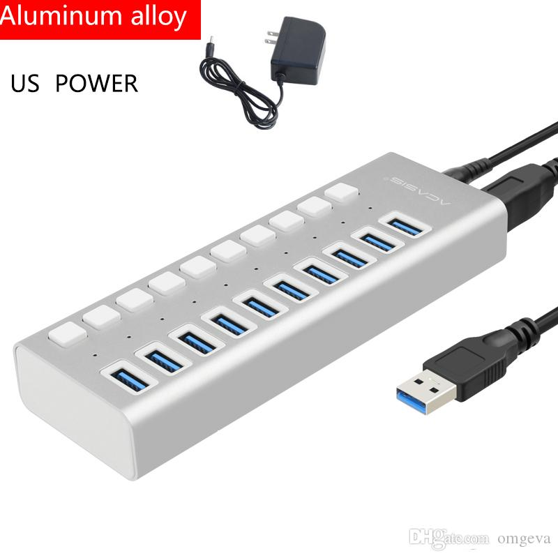 Acasis multi-interfaz USB HUB con fuente de alimentación Super Speed 10 puertos USB 3.0 HUB portátil con adaptador de energía externo para PC Acce