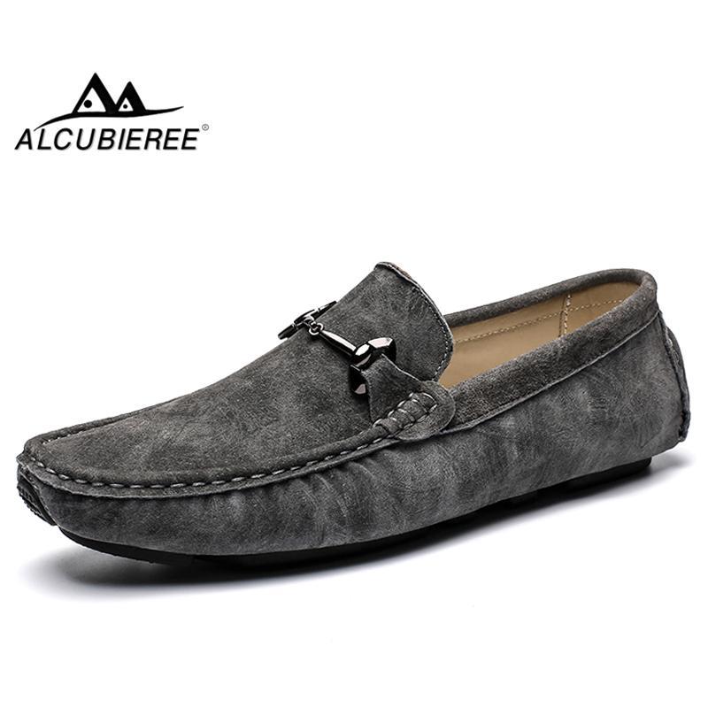 Moda Hombres ALCUBIEREE vaca gamuza suave de los holgazanes Zapatos cómodos Conducción del hombre Slip-en los zapatos El barco plano Breathe Mocasines Calzado