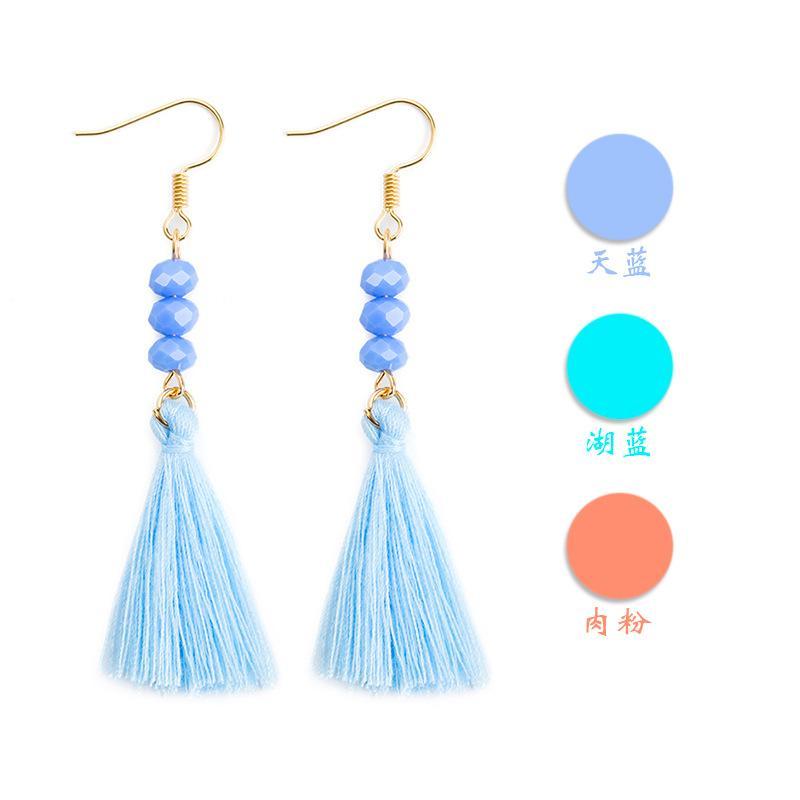Lange Quaste Ohrringe Seide Stoff ethnischen Perlen Ohrringe böhmische Ohrringe