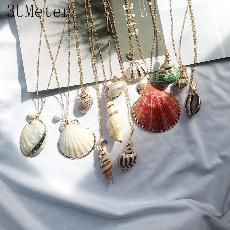 3UMeter 2019 Explosion Natürliche Shell Halskette Für Frauen Imitation Perle Anhänger Halskette Sommer Strand Gold Dropshipping