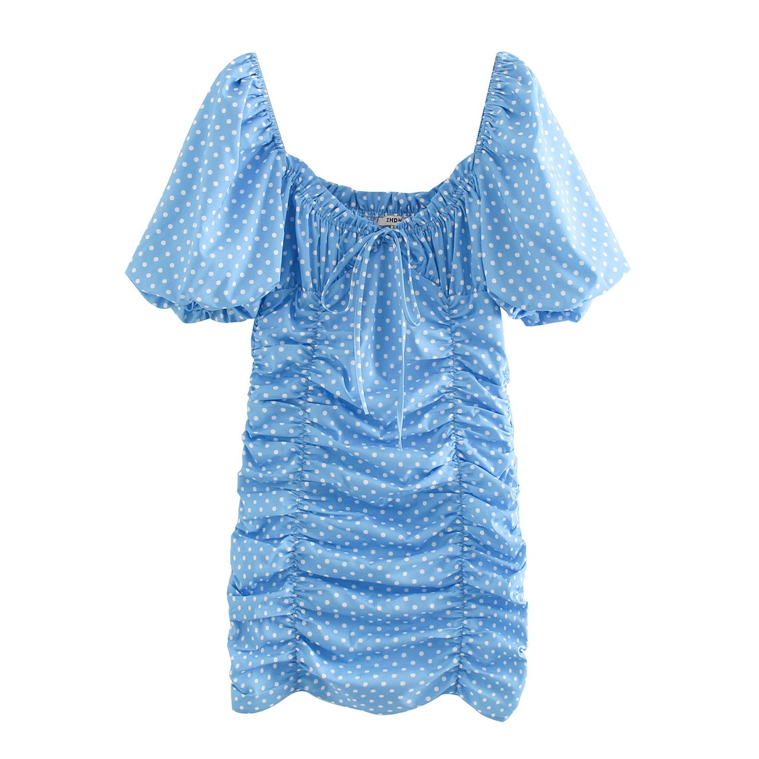 Women Blue Polka Dot Print Dresses 2020 New Vintage Square Neck Puff Sleeve Pleated Casual Mini Evening Party Dress Summer Boho Short Dress