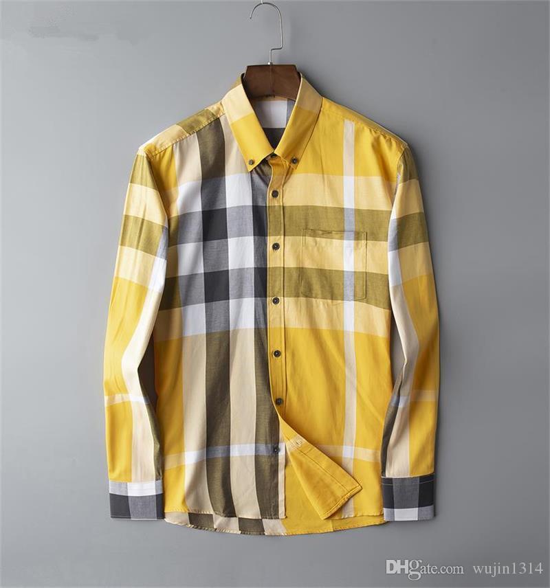 Бренд мужской бизнес повседневная рубашка мужская с длинным рукавом в полоску slim fit camisa masculina социальные мужские футболки новая мода человек в клетку рубашка P07