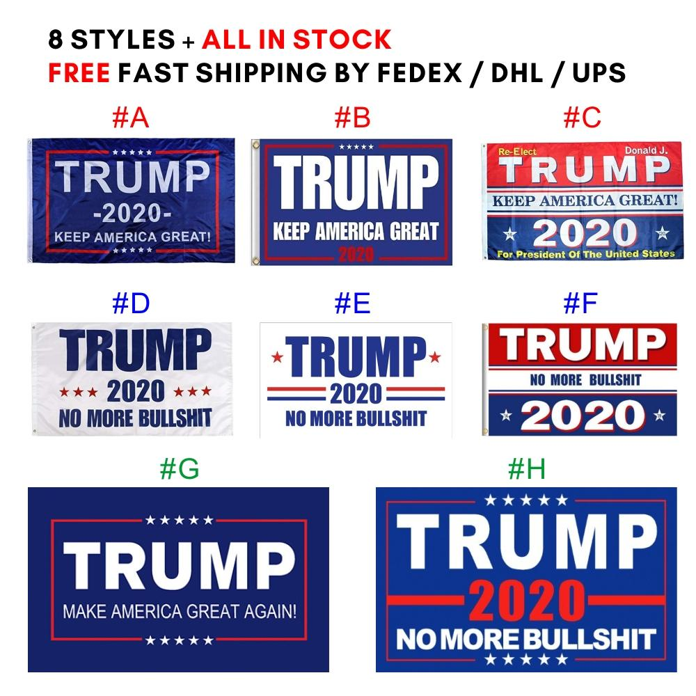 3 * bandiera 5ft 90 * 150cm all'ingrosso Trump 2020 Flag 8 stili Donald Bandiere Keep America Great Again poliestere decorazione Banner Per il presidente USA