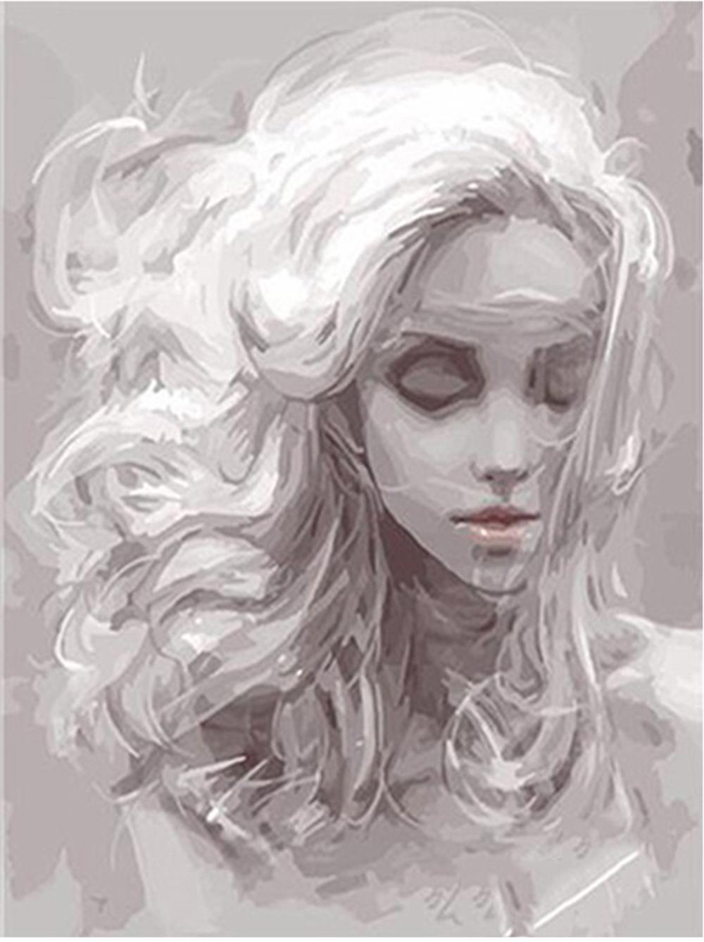 """Pintura de aceite Pintura de bricolaje con números Kits Pintura de adultos pintados a mano: gris avatar femenino 16 """"x20"""""""