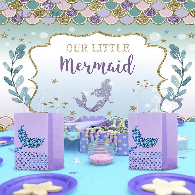 Compre 210x150 Cm Fiesta De Sirena Telón De Fondo Decoraciones Para Fiestas De Cumpleaños Bebé Recién Nacido Fotografía De Fondo Decoraciones Para