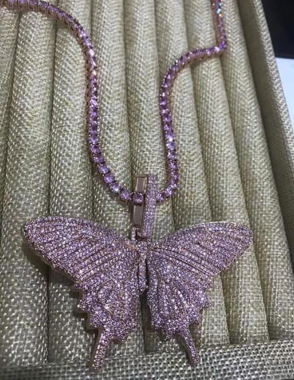 14K fuori ghiacciato farfalla Collana Mens Rosa Catena gioielli con diamanti pendenti farfalla collana Rapper Singer