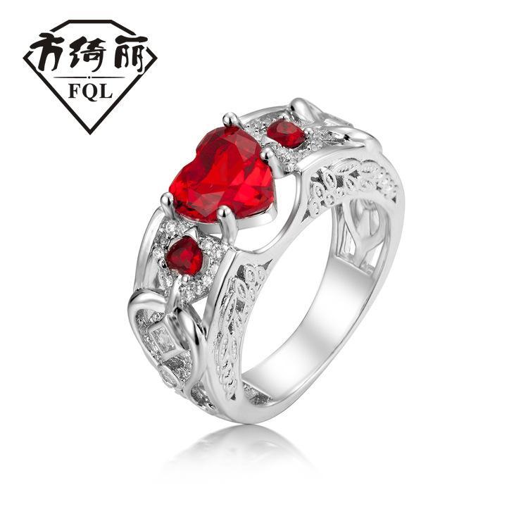 Desejo rápida venda nova venda quente europeu e americano Princesa Anel Coração do rubi anel de noivado mulheres acessórios mão