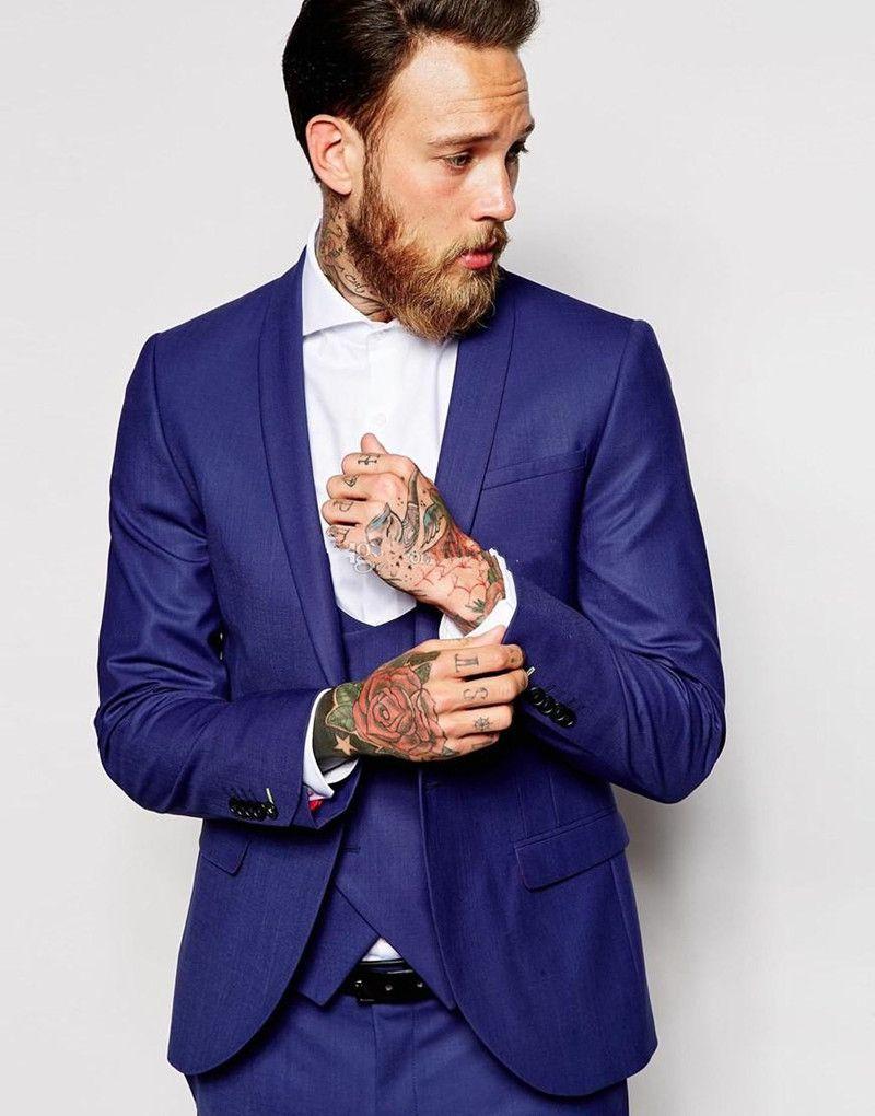 Nuovi Smoking dello sposo Groomsmen One Button Scial risvolto Best Man Suit Wedding Blazer da uomo Abiti Custom Made (Jacket + Pants + Vest + Tie) 1327
