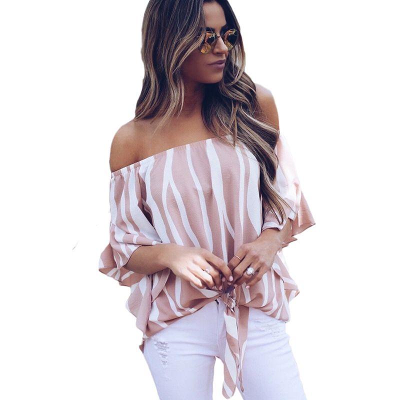 시폰 블라우스 여성 패션 줄무늬 셔츠 여름 오프 캐주얼 탑스 보우 타이 붕대 여성 블라우스 셔츠 Blusa Mujer S-xl