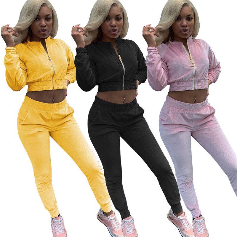 Automne Hiver Femmes Designer Survêtements Fashoin Velours Deux Piece Pantalon Casual Col de Montage Zipper Fly Cardigan Costume