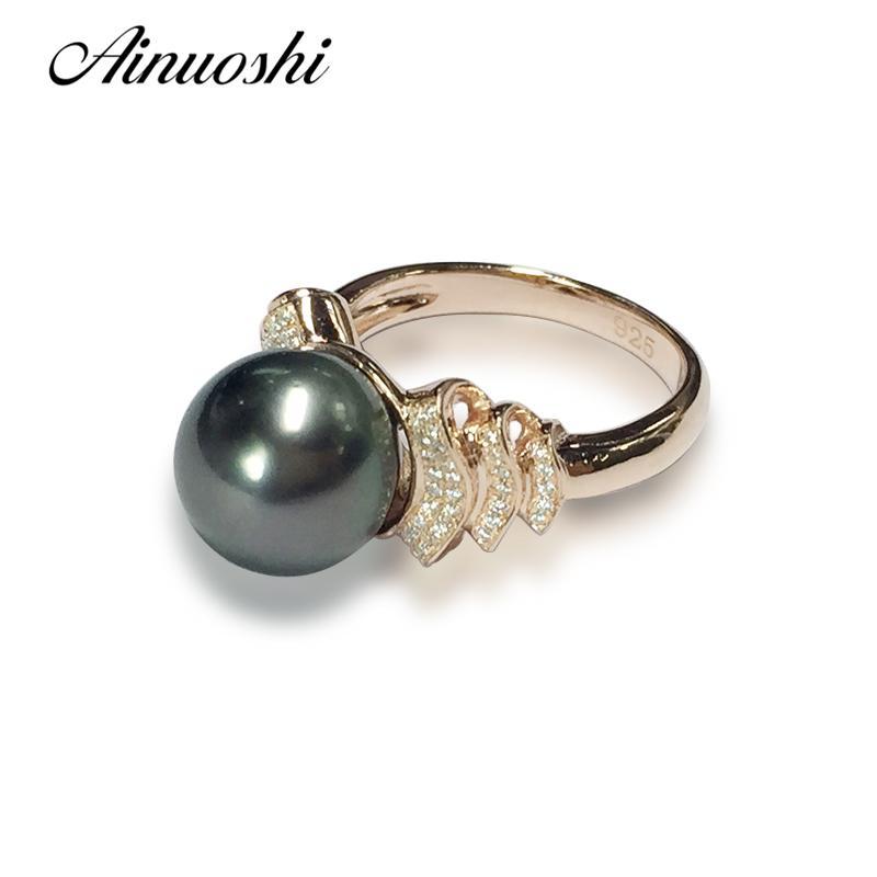 AINUOSHI 925 Gümüş Sarı Altın Renkli Kadınlar Alyans Siyah Kültürlü Pearl Tahiti 10mm İnci Yıldönümü Lover Halkalar Y200106
