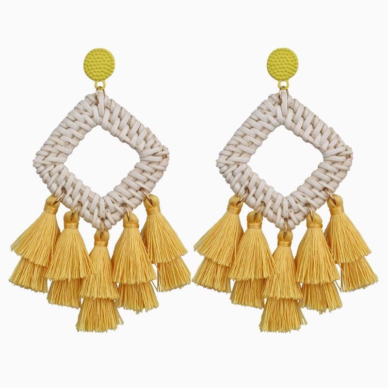 New Trendy Personality Tassel Earrings Crochet Straw Rhombus Bohemian Delicate Dangle Earrings