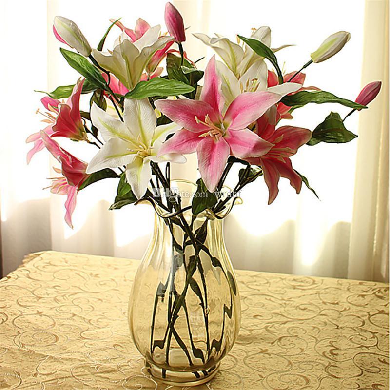 가짜 백합 꽃 인공 백합 세 머리 실크 흰색 / 분홍색 / 장미 붉은 백합 꽃 줄기 웨딩 홈 테이블 장식