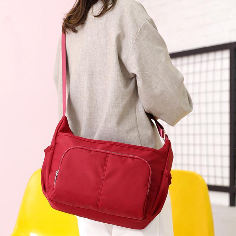 Nylon Bags Mulheres Bolsas de Ombro Nylon Waterproof Sólidos Shoulder bag cor Bandoleira Para Mulheres Sports # 3