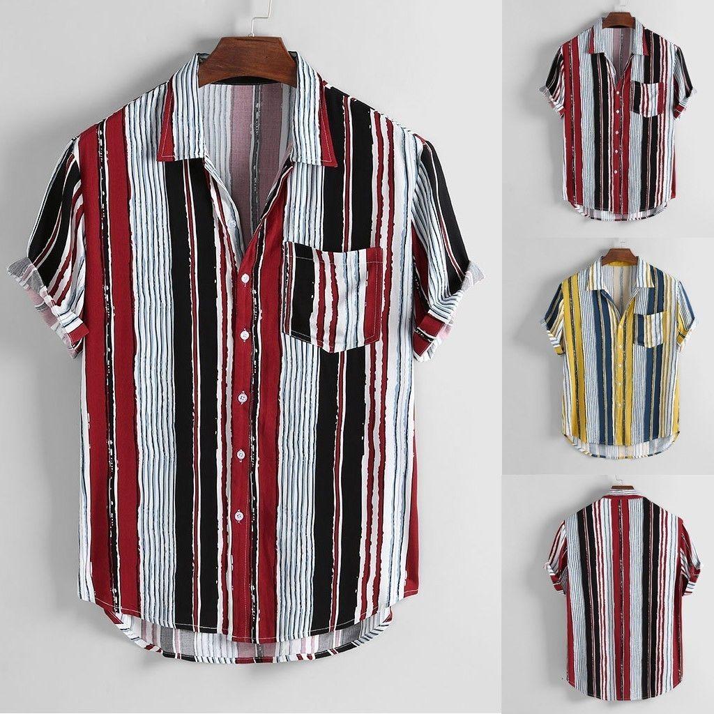 Camisas casuais dos homens homens camisa de manga curta camisa masculina listra colorida verão botões soltos blusa m-3xl