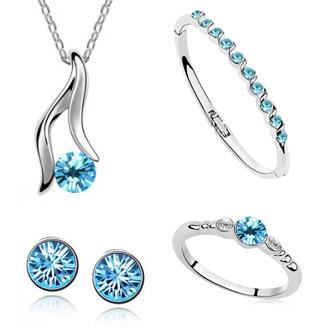 HOT SALE New 2014 jewelry sets silver Plated jewelry necklaces & pendants Stud Earrings Ring Bracelet Bangles For Women