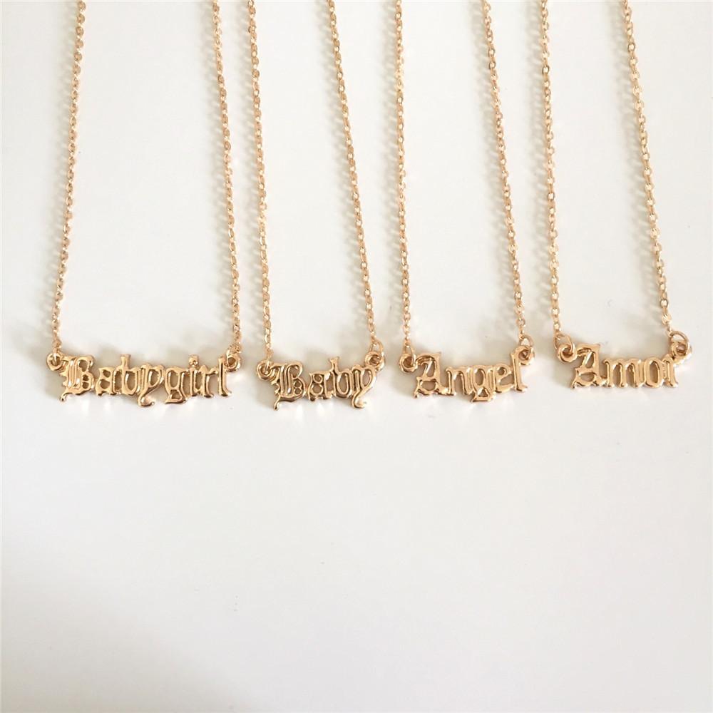 엄마를위한 고품질 2020 새로운 패션 쥬얼리 골드 Babygirl 편지 목걸이 이름 펜던트 사랑스러운 선물