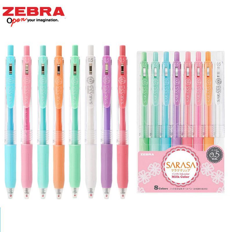 8 colores de cebra Sarasa Clip 0.5 mm bolígrafo bolígrafos de gel japoneses para colorear Rollerball agua basted pigmento papelería Kawai