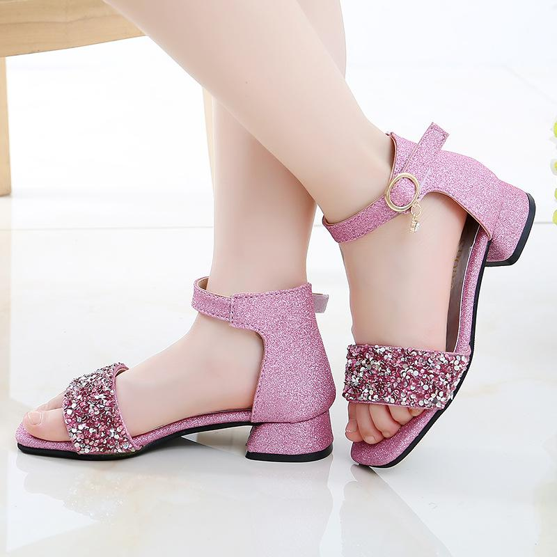 Kid ботинки высокой пятки летние девочки сандалии Big Kids принцесса обувь для детей с блестками сандалии 4 5 6 7 8 9 10 11 12 13 14 года