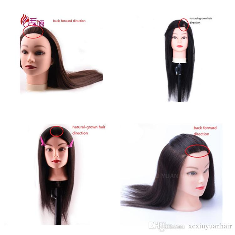 16inch Mannequin Head With Human Hair Training Hairdressing Heads Female Training Dolls Natural-grown Hair Direction Back Forward Direction